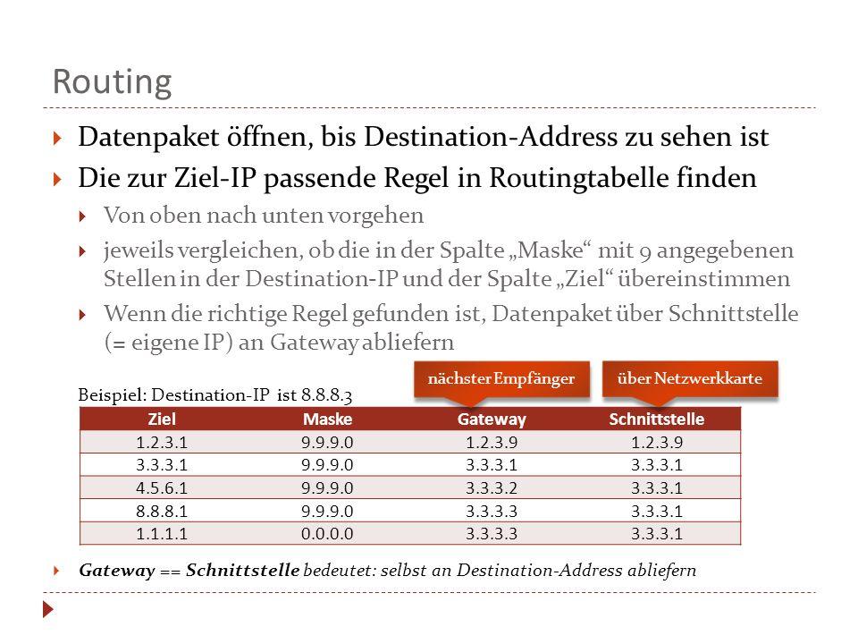"""Routing  Datenpaket öffnen, bis Destination-Address zu sehen ist  Die zur Ziel-IP passende Regel in Routingtabelle finden  Von oben nach unten vorgehen  jeweils vergleichen, ob die in der Spalte """"Maske mit 9 angegebenen Stellen in der Destination-IP und der Spalte """"Ziel übereinstimmen  Wenn die richtige Regel gefunden ist, Datenpaket über Schnittstelle (= eigene IP) an Gateway abliefern Beispiel: Destination-IP ist 8.8.8.3 ZielMaskeGatewaySchnittstelle 1.2.3.19.9.9.01.2.3.9 3.3.3.19.9.9.03.3.3.1 4.5.6.19.9.9.03.3.3.23.3.3.1 8.8.8.19.9.9.03.3.3.33.3.3.1 1.1.1.10.0.0.03.3.3.33.3.3.1 nächster Empfänger über Netzwerkkarte  Gateway == Schnittstelle bedeutet: selbst an Destination-Address abliefern"""