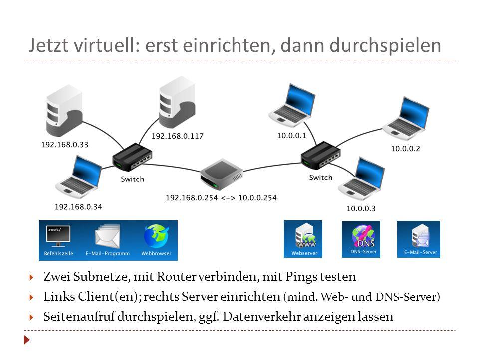 Jetzt virtuell: erst einrichten, dann durchspielen  Zwei Subnetze, mit Router verbinden, mit Pings testen  Links Client(en); rechts Server einrichten (mind.