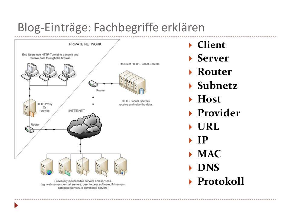 Blog-Einträge: Fachbegriffe erklären  Client  Server  Router  Subnetz  Host  Provider  URL  IP  MAC  DNS  Protokoll