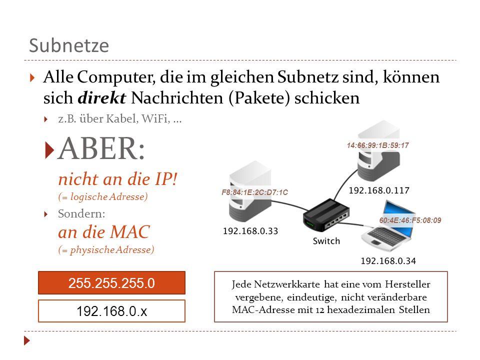 Subnetze  Alle Computer, die im gleichen Subnetz sind, können sich direkt Nachrichten (Pakete) schicken  z.B.