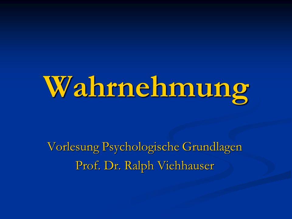 Wahrnehmung Vorlesung Psychologische Grundlagen Prof. Dr. Ralph Viehhauser