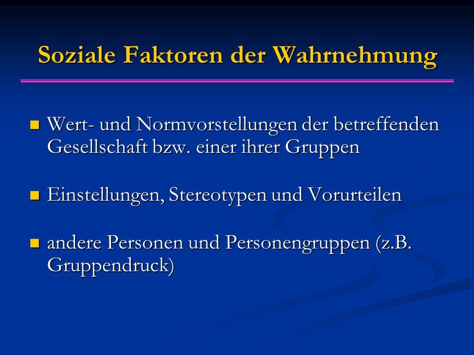Soziale Faktoren der Wahrnehmung Wert- und Normvorstellungen der betreffenden Gesellschaft bzw.
