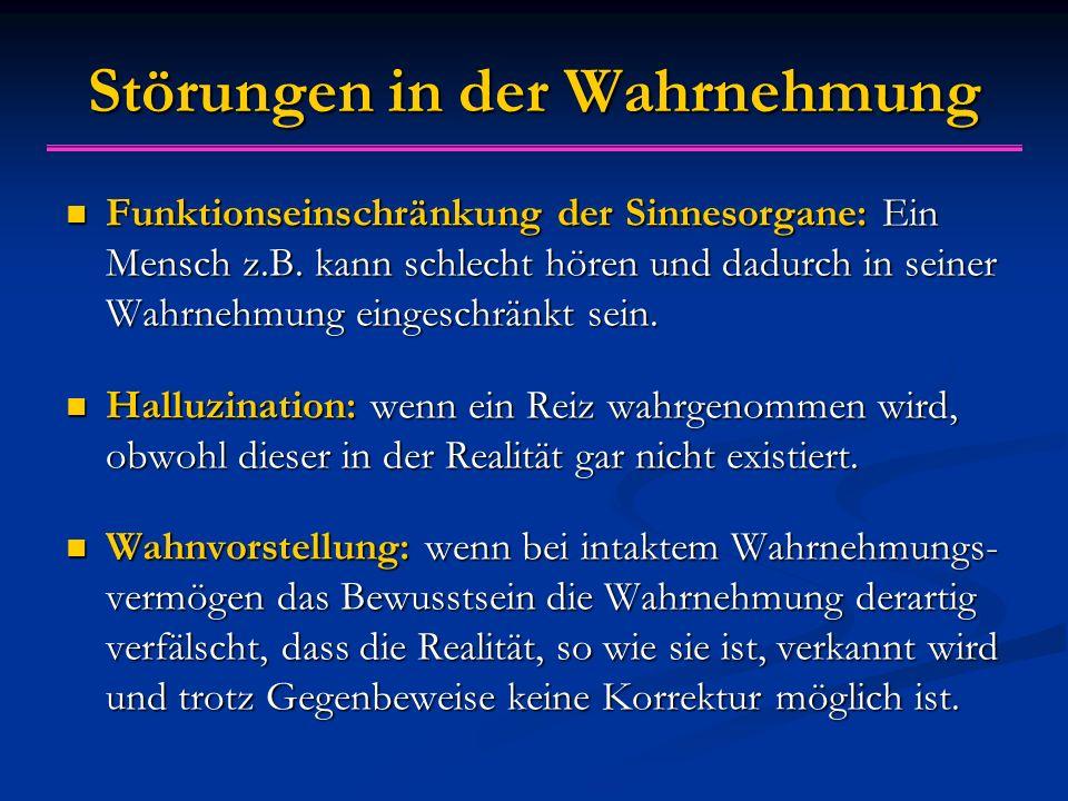 Störungen in der Wahrnehmung Funktionseinschränkung der Sinnesorgane: Ein Mensch z.B.