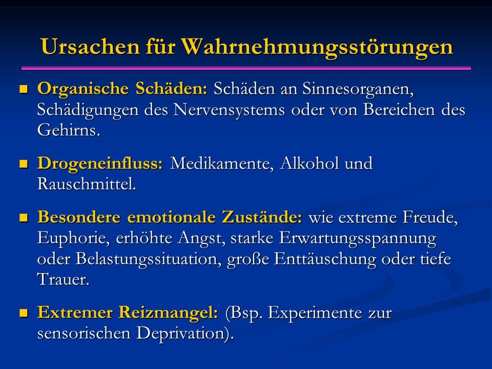 Ursachen für Wahrnehmungsstörungen Organische Schäden: Schäden an Sinnesorganen, Schädigungen des Nervensystems oder von Bereichen des Gehirns. Organi