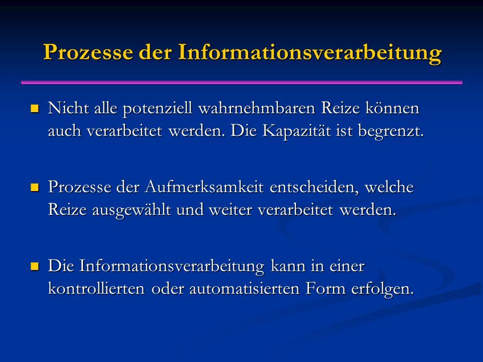 Prozesse der Informationsverarbeitung Nicht alle potenziell wahrnehmbaren Reize können auch verarbeitet werden.