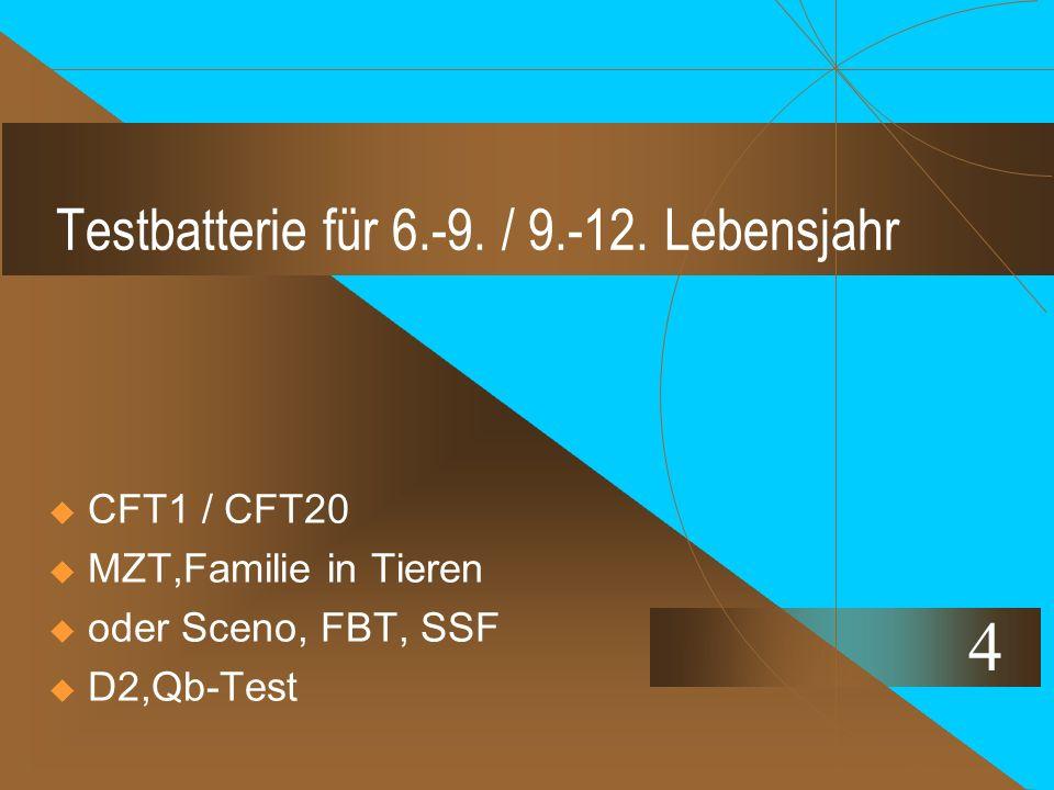 Testbatterie für 6.-9. / 9.-12. Lebensjahr  CFT1 / CFT20  MZT,Familie in Tieren  oder Sceno, FBT, SSF  D2,Qb-Test 4