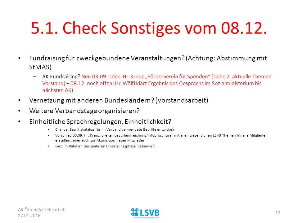 5.1.Check Sonstiges vom 08.12. Fundraising für zweckgebundene Veranstaltungen.