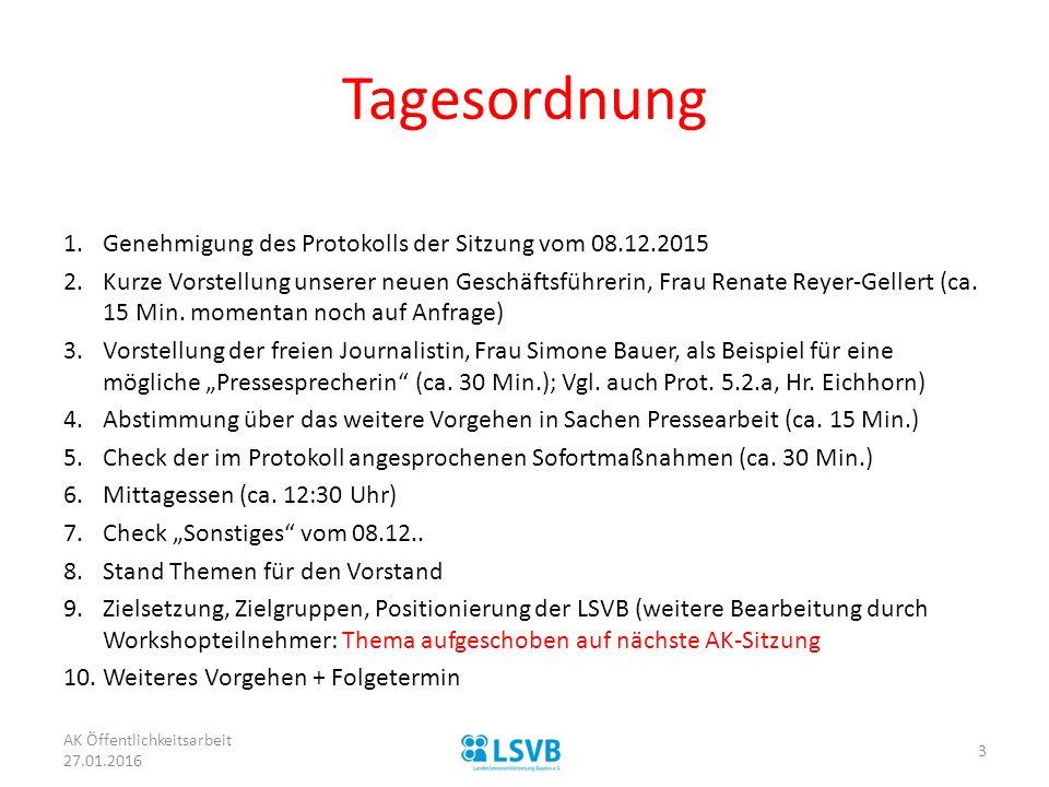 Tagesordnung 1.Genehmigung des Protokolls der Sitzung vom 08.12.2015 2.Kurze Vorstellung unserer neuen Geschäftsführerin, Frau Renate Reyer-Gellert (ca.