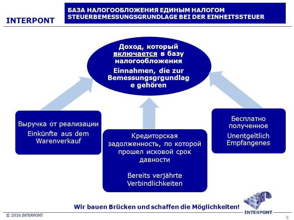 8 © 2016 INTERPONT INTERPONT БАЗА НАЛОГООБЛОЖЕНИЯ ЕДИНЫМ НАЛОГОМ STEUERBEMESSUNGSGRUNDLAGE BEI DER EINHEITSSTEUER Доход, который включается в базу нал