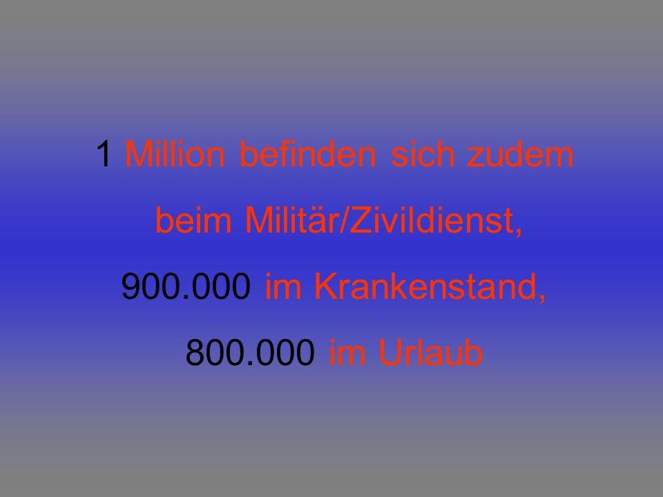 1 Million befinden sich zudem beim Militär/Zivildienst, 900.000 im Krankenstand, 800.000 im Urlaub