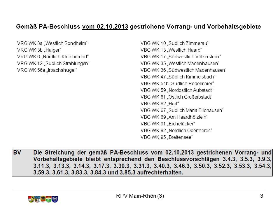 """RPV Main-Rhön (3)3 VRG WK 3a """"Westlich Sondheim VRG WK 3b """"Haiger VRG WK 6 """"Nördlich Kleinbardorf VRG WK 12 """"Südlich Strahlungen VRG WK 56a """"Irbachshügel VBG WK 10 """"Südlich Zimmerau VBG WK 13 """"Westlich Haard VBG WK 17 """"Südwestlich Völkersleier VBG WK 35 """"Westlich Madenhausen VBG WK 36 """"Südwestlich Madenhausen VBG WK 47 """"Südlich Kimmelsbach VBG WK 54b """"Südlich Rödelmaier VBG WK 59 """"Nordöstlich Aubstadt VBG WK 61 """"Östlich Großeibstadt VBG WK 62 """"Hart VBG WK 67 """"Südlich Maria Bildhausen VBG WK 69 """"Am Haardhölzlein VBG WK 91 """"Eicheläcker VBG WK 92 """"Nördlich Obertheres VBG WK 95 """"Breitensee Gemäß PA-Beschluss vom 02.10.2013 gestrichene Vorrang- und Vorbehaltsgebiete"""
