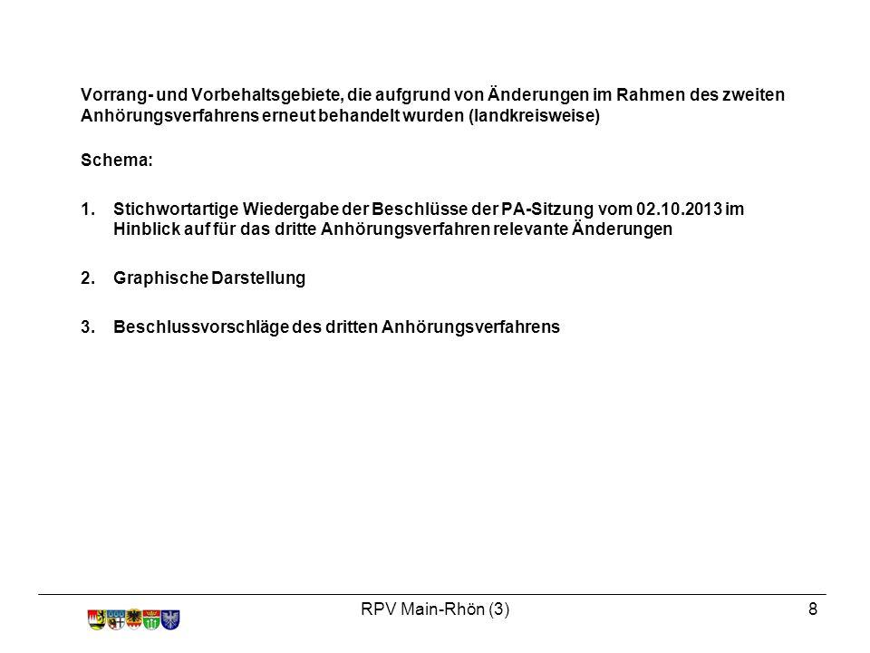 RPV Main-Rhön (3)8 Vorrang- und Vorbehaltsgebiete, die aufgrund von Änderungen im Rahmen des zweiten Anhörungsverfahrens erneut behandelt wurden (landkreisweise) Schema: 1.Stichwortartige Wiedergabe der Beschlüsse der PA-Sitzung vom 02.10.2013 im Hinblick auf für das dritte Anhörungsverfahren relevante Änderungen 2.Graphische Darstellung 3.Beschlussvorschläge des dritten Anhörungsverfahrens