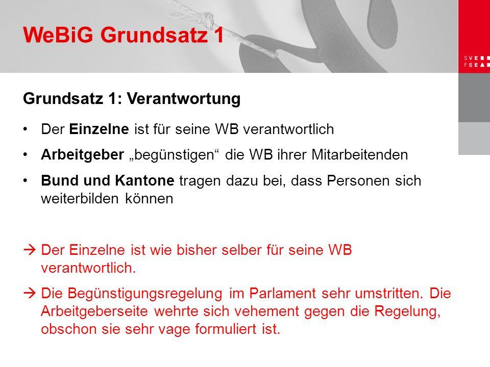 """Grundsatz 1: Verantwortung Der Einzelne ist für seine WB verantwortlich Arbeitgeber """"begünstigen"""" die WB ihrer Mitarbeitenden Bund und Kantone tragen"""