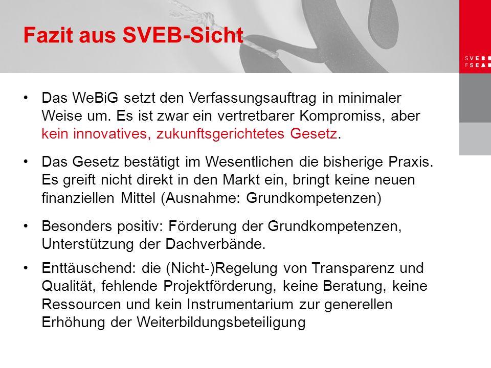 Das WeBiG setzt den Verfassungsauftrag in minimaler Weise um. Es ist zwar ein vertretbarer Kompromiss, aber kein innovatives, zukunftsgerichtetes Gese