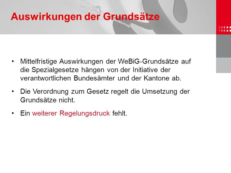 Mittelfristige Auswirkungen der WeBiG-Grundsätze auf die Spezialgesetze hängen von der Initiative der verantwortlichen Bundesämter und der Kantone ab.