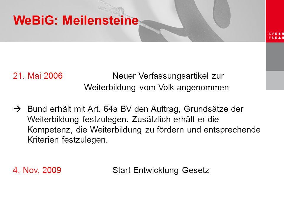 21. Mai 2006 Neuer Verfassungsartikel zur Weiterbildung vom Volk angenommen  Bund erhält mit Art. 64a BV den Auftrag, Grundsätze der Weiterbildung fe