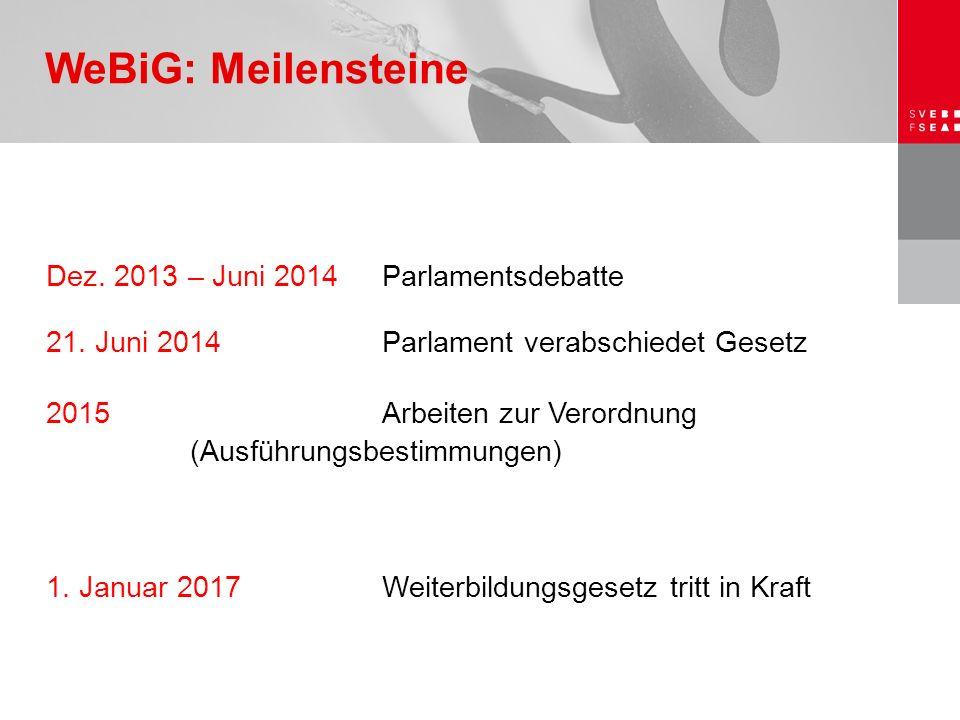 Dez. 2013 – Juni 2014 Parlamentsdebatte 21. Juni 2014Parlament verabschiedet Gesetz 2015 Arbeiten zur Verordnung (Ausführungsbestimmungen) 1. Januar 2