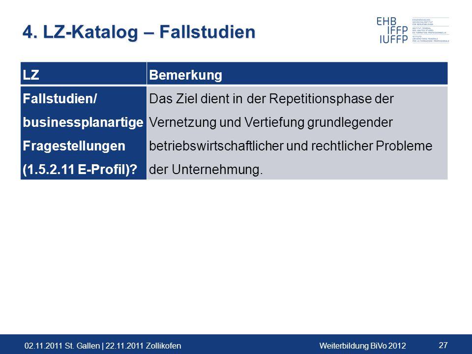 02.11.2011 St. Gallen | 22.11.2011 ZollikofenWeiterbildung BiVo 2012 27 LZBemerkung Fallstudien/ businessplanartige Fragestellungen (1.5.2.11 E-Profil