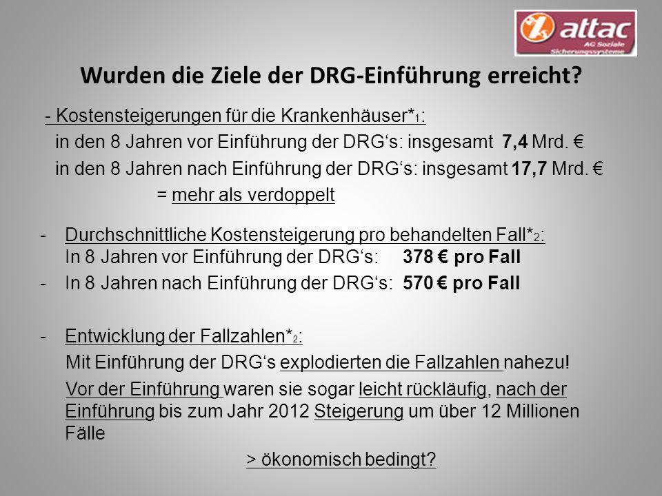 Wurden die Ziele der DRG-Einführung erreicht.