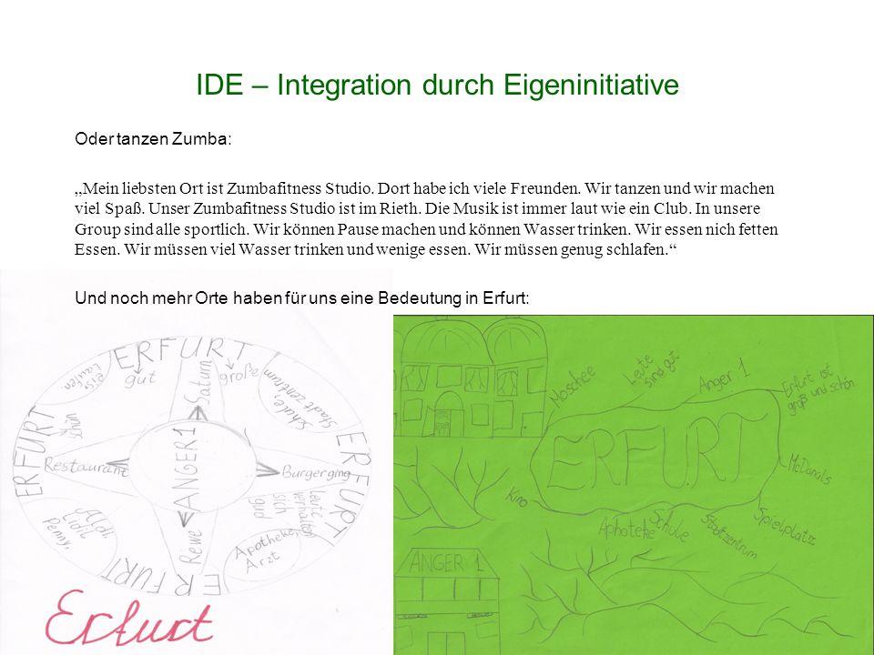 """IDE – Integration durch Eigeninitiative Oder tanzen Zumba: """"Mein liebsten Ort ist Zumbafitness Studio."""