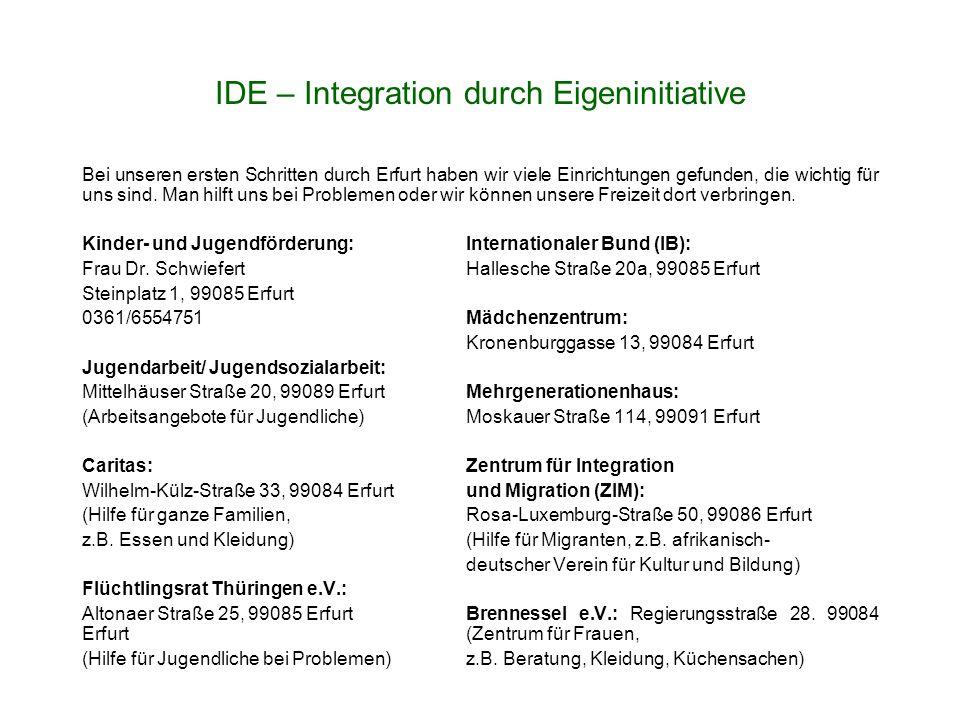 Bei unseren ersten Schritten durch Erfurt haben wir viele Einrichtungen gefunden, die wichtig für uns sind.