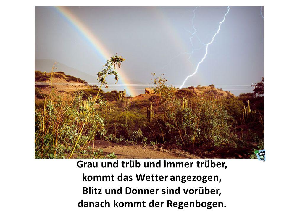 Grau und trüb und immer trüber, kommt das Wetter angezogen, Blitz und Donner sind vorüber, danach kommt der Regenbogen.