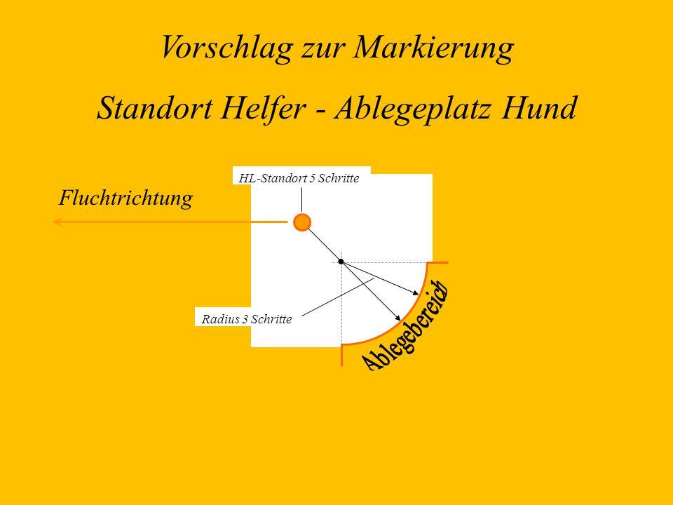 Radius 3 Schritte HL-Standort 5 Schritte Vorschlag zur Markierung Standort Helfer - Ablegeplatz Hund Fluchtrichtung