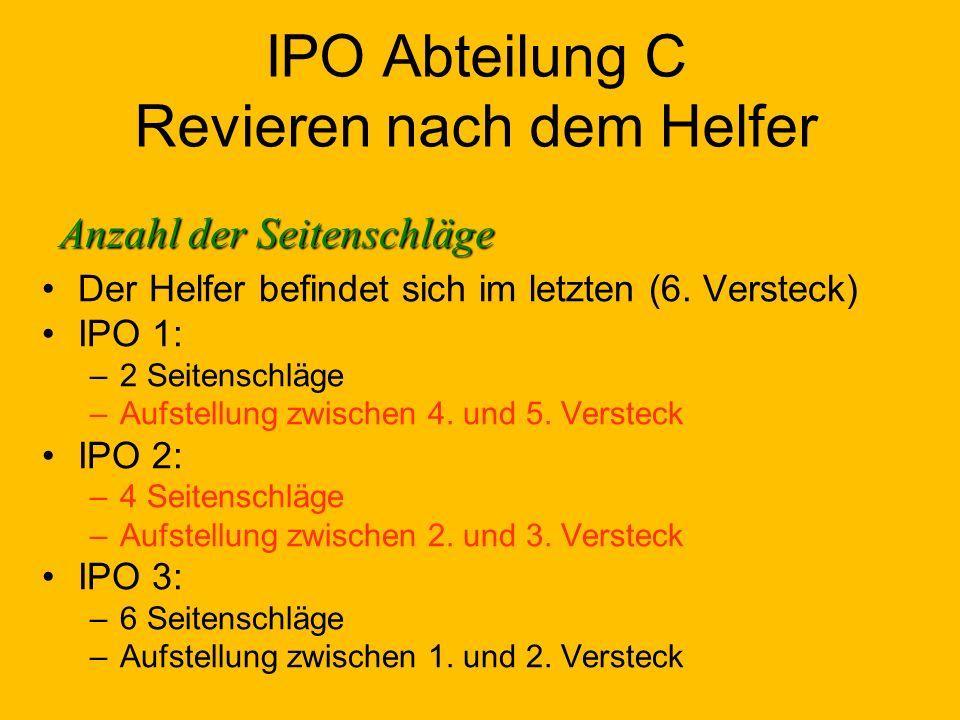 IPO Abteilung C Revieren nach dem Helfer Der Helfer befindet sich im letzten (6.