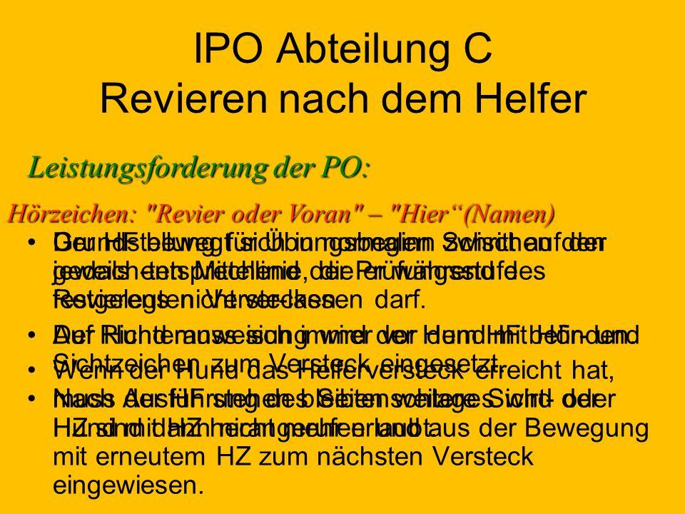 IPO Abteilung C Revieren nach dem Helfer Grundstellung für Übungsbeginn zwischen den jeweils entsprechend der Prüfungsstufe festgelegten Verstecken.