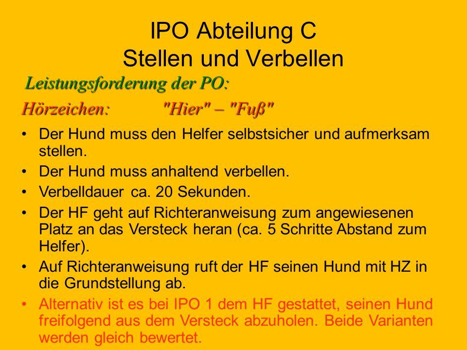 IPO Abteilung C Stellen und Verbellen Leistungsforderung der PO: Der Hund muss den Helfer selbstsicher und aufmerksam stellen.