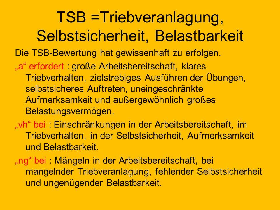 TSB =Triebveranlagung, Selbstsicherheit, Belastbarkeit Die TSB-Bewertung hat gewissenhaft zu erfolgen.