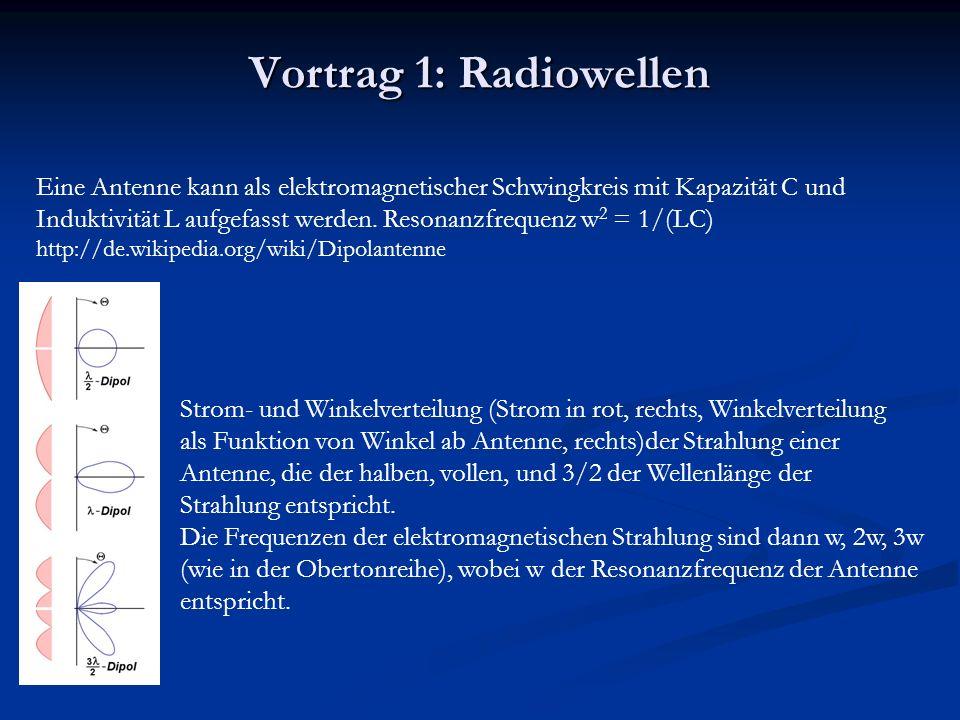 Vortrag 1: Radiowellen Eine Antenne kann als elektromagnetischer Schwingkreis mit Kapazität C und Induktivität L aufgefasst werden.