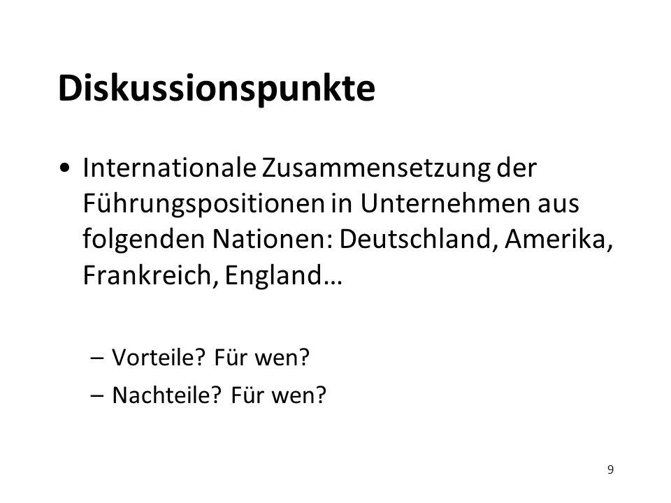 Diskussionspunkte Internationale Zusammensetzung der Führungspositionen in Unternehmen aus folgenden Nationen: Deutschland, Amerika, Frankreich, England… –Vorteile.