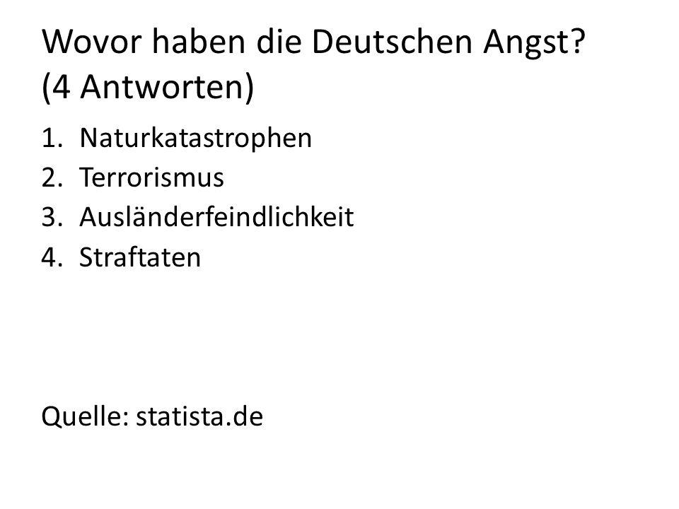 Wovor haben die Deutschen Angst? (4 Antworten) 1.Naturkatastrophen 2.Terrorismus 3.Ausländerfeindlichkeit 4.Straftaten Quelle: statista.de