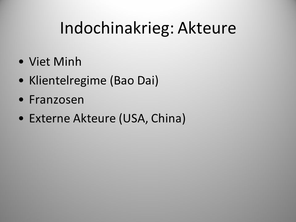 Indochinakrieg: Akteure Viet Minh Klientelregime (Bao Dai) Franzosen Externe Akteure (USA, China)