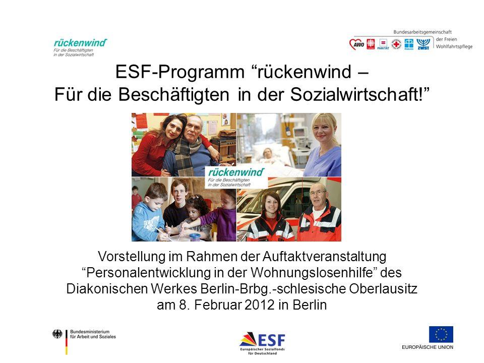 ESF- Programm rückenwind Ausblick: ESF Förderperiode 2014 - 2020 Das Programm rückenwind ist in vielerlei Hinsicht ein Modellprogramm, weil es viele der genannten Problemstellungen und Herausforderungen aufgreift, weil es sozusagen voll auf der Linie von Europa 2020 liegt. – Manuela Geleng, Generaldirektion Beschäftigung, Soziales und Integration der Europäischen Kommission ESF-Verordnungen für die Förderperiode 2014 – 2020 sind auf die Kernziele der Strategie Europa 2020 ausgelegt.