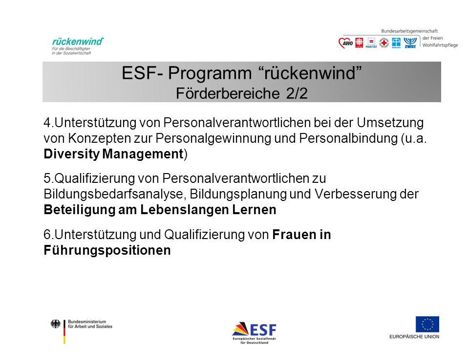 ESF- Programm rückenwind Förderbereiche 2/2 4.Unterstützung von Personalverantwortlichen bei der Umsetzung von Konzepten zur Personalgewinnung und Personalbindung (u.a.