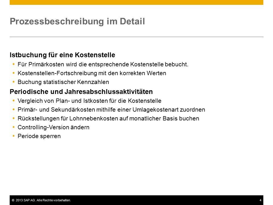 ©2013 SAP AG. Alle Rechte vorbehalten.4 Prozessbeschreibung im Detail Istbuchung für eine Kostenstelle  Für Primärkosten wird die entsprechende Koste