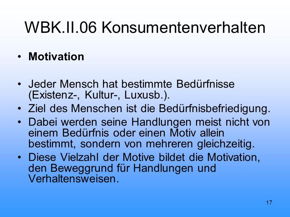17 WBK.II.06 Konsumentenverhalten Motivation Jeder Mensch hat bestimmte Bedürfnisse (Existenz-, Kultur-, Luxusb.).