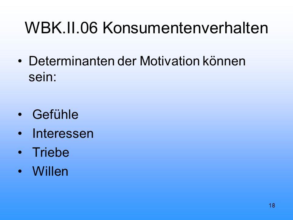 18 WBK.II.06 Konsumentenverhalten Determinanten der Motivation können sein: Gefühle Interessen Triebe Willen