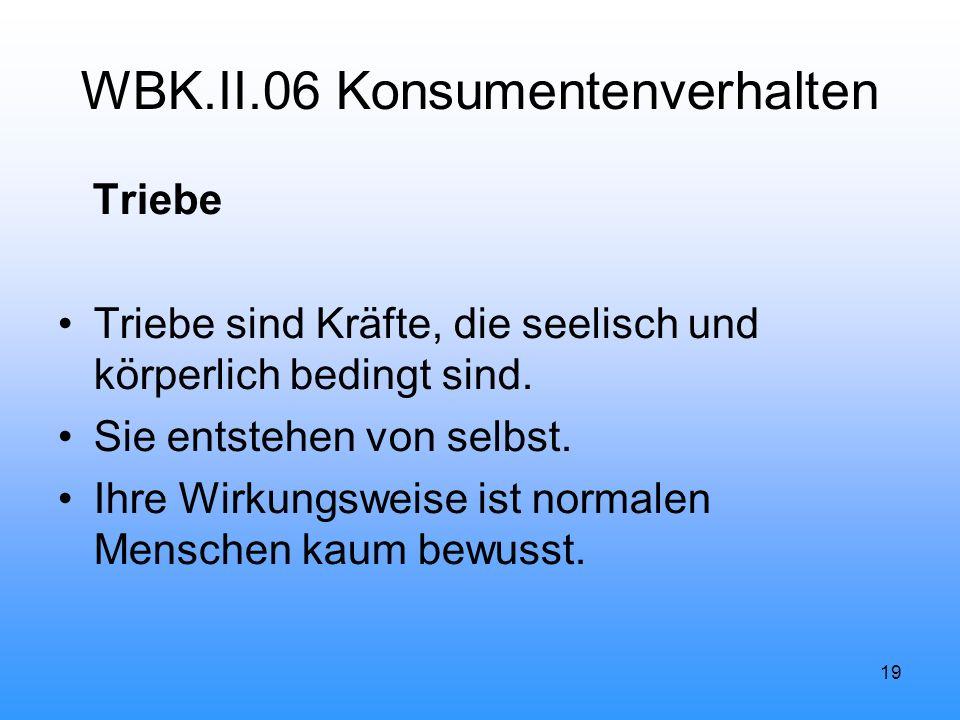 19 WBK.II.06 Konsumentenverhalten Triebe Triebe sind Kräfte, die seelisch und körperlich bedingt sind.