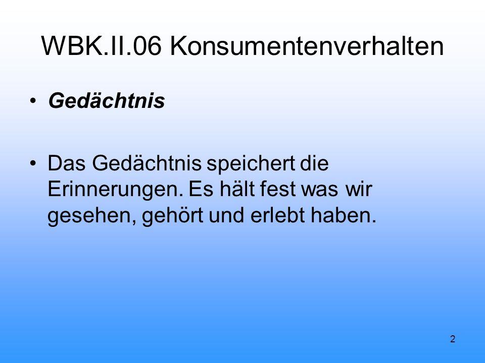 2 WBK.II.06 Konsumentenverhalten Gedächtnis Das Gedächtnis speichert die Erinnerungen.