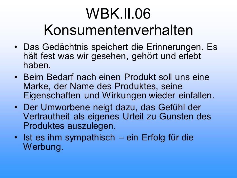 WBK.II.06 Konsumentenverhalten Das Gedächtnis speichert die Erinnerungen.