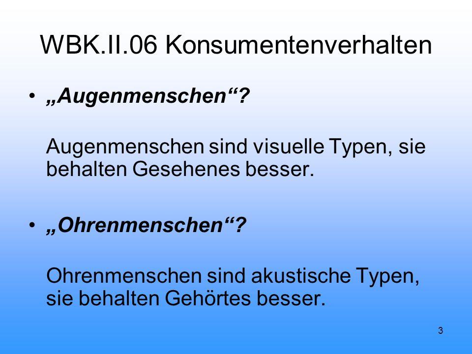"""3 WBK.II.06 Konsumentenverhalten """"Augenmenschen ."""