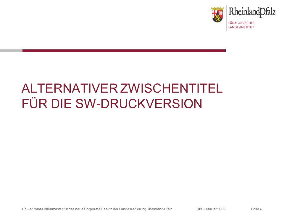 Folie 409. Februar 2009PowerPoint-Folienmaster für das neue Corporate Design der Landesregierung Rheinland-Pfalz ALTERNATIVER ZWISCHENTITEL FÜR DIE SW