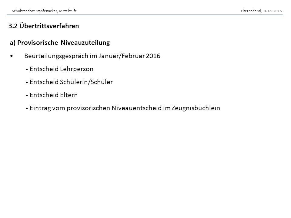 Schulstandort Stapfenacker, MittelstufeElternabend, 10.09.2015
