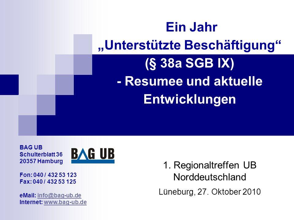 """Ein Jahr """"Unterstützte Beschäftigung (§ 38a SGB IX) - Resumee und aktuelle Entwicklungen 1."""