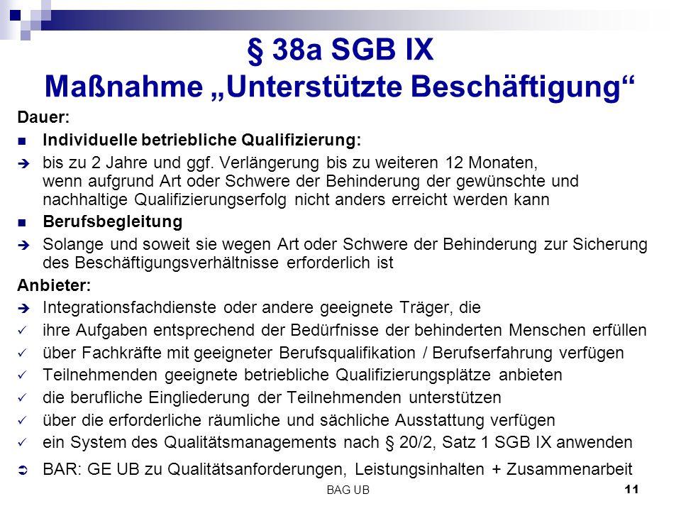 """BAG UB 11 § 38a SGB IX Maßnahme """"Unterstützte Beschäftigung Dauer: Individuelle betriebliche Qualifizierung:  bis zu 2 Jahre und ggf."""