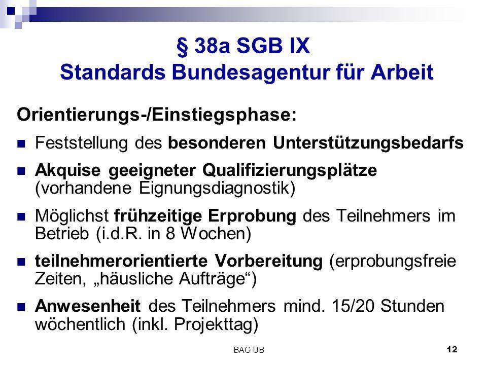 BAG UB 12 § 38a SGB IX Standards Bundesagentur für Arbeit Orientierungs-/Einstiegsphase: Feststellung des besonderen Unterstützungsbedarfs Akquise geeigneter Qualifizierungsplätze (vorhandene Eignungsdiagnostik) Möglichst frühzeitige Erprobung des Teilnehmers im Betrieb (i.d.R.