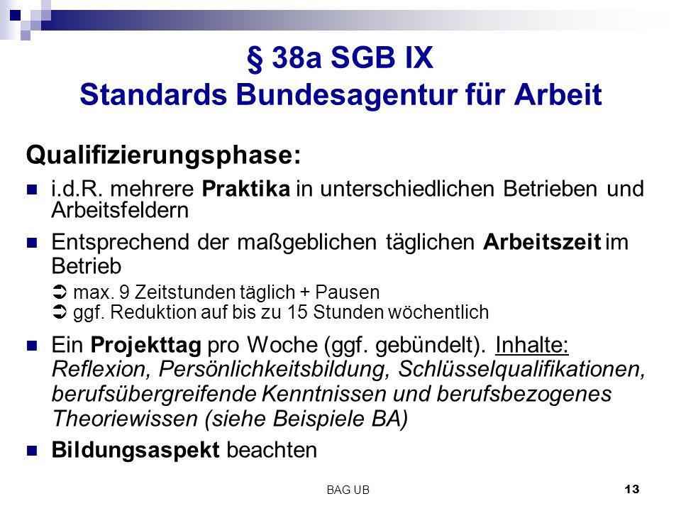 BAG UB 13 § 38a SGB IX Standards Bundesagentur für Arbeit Qualifizierungsphase: i.d.R.